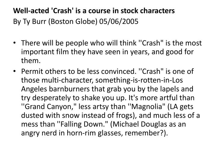 Well-acted 'Crash' is a course in stock characters