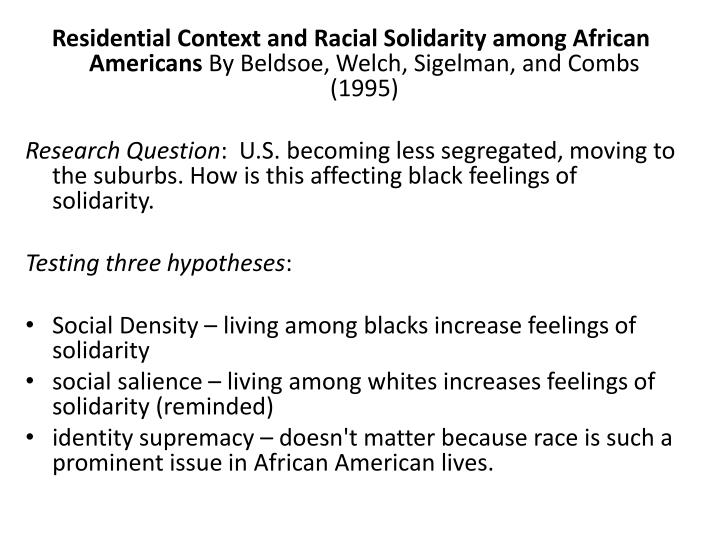 Residential Context and Racial Solidarity among African