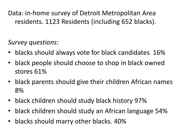 Data: in-home survey of Detroit Metropolitan Area residents. 1123 Residents (including 652 blacks).