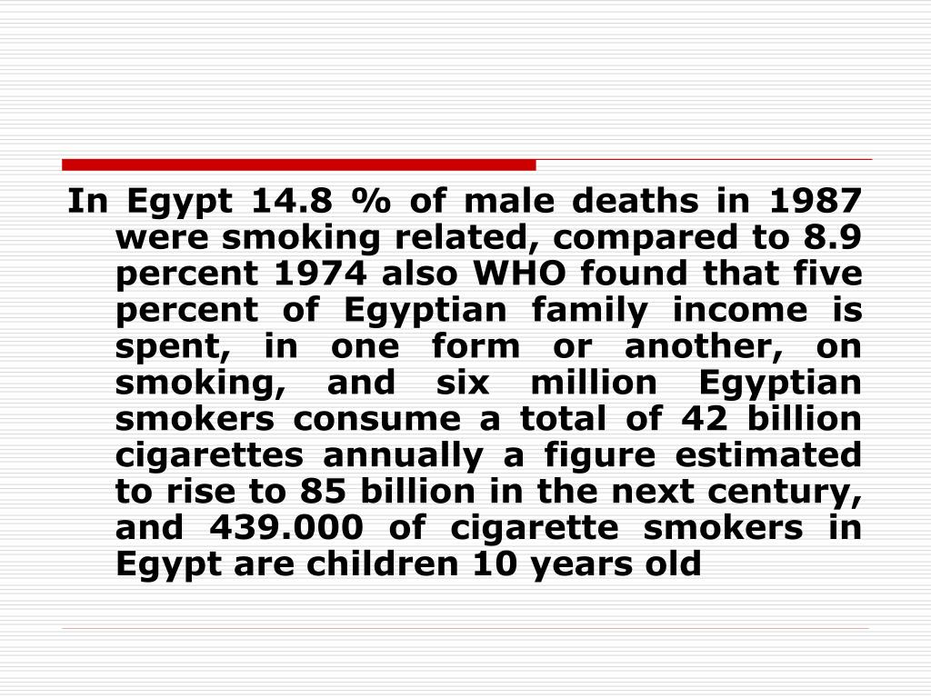 In Egypt 14.8 % of male deaths in 1987 were smoking related, compared to 8.9 percent 1974 also WHO found that five percent of Egyptian family income is spent, in one form or another, on smoking, and six million Egyptian smokers consume a total of 42 billion cigarettes annually a figure estimated to rise to 85 billion in the next century, and 439.000 of cigarette smokers in Egypt are children 10 years old