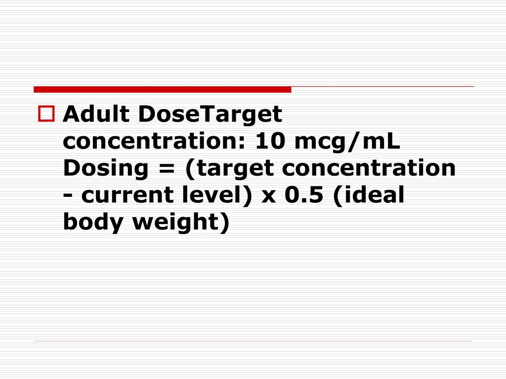 Adult DoseTarget concentration: 10 mcg/mL