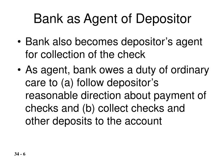 Bank also becomes depositor's agent for collection of the check