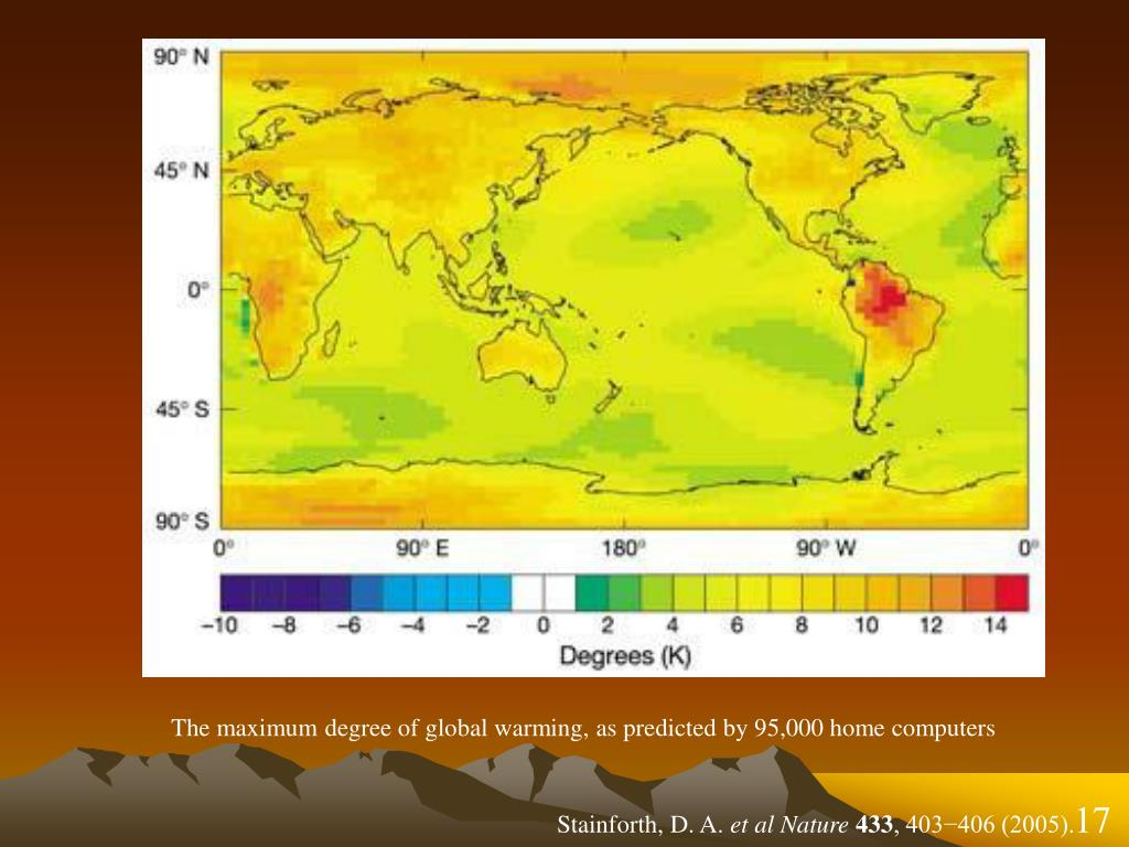 The maximum degree of global warming, as predicted by 95,000 home computers