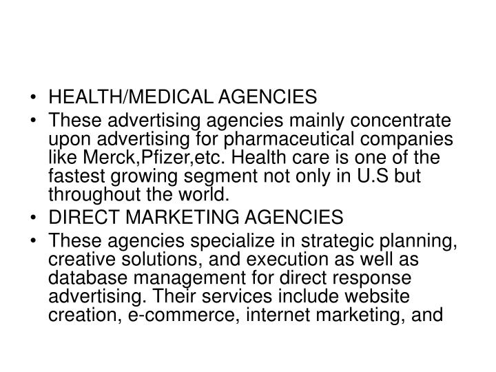 HEALTH/MEDICAL AGENCIES
