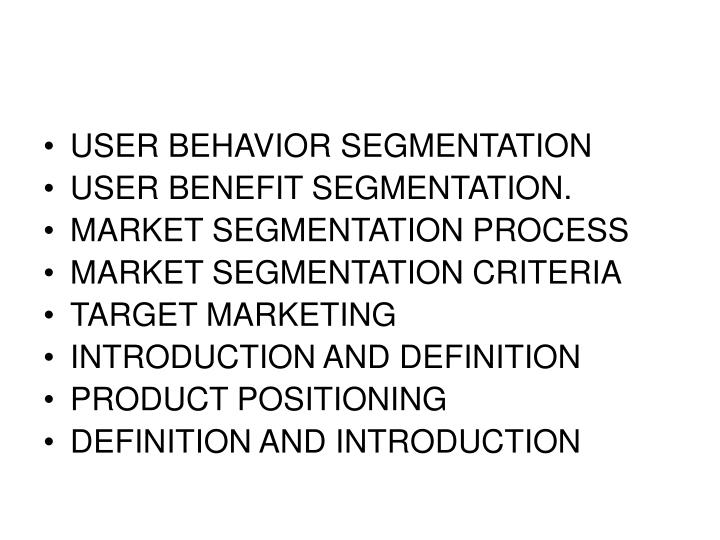 USER BEHAVIOR SEGMENTATION