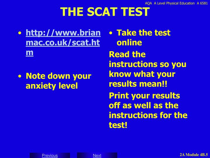 THE SCAT TEST