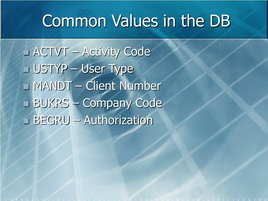 Common Values in the DB