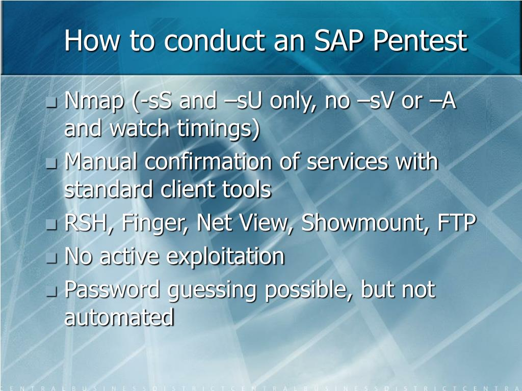 How to conduct an SAP Pentest
