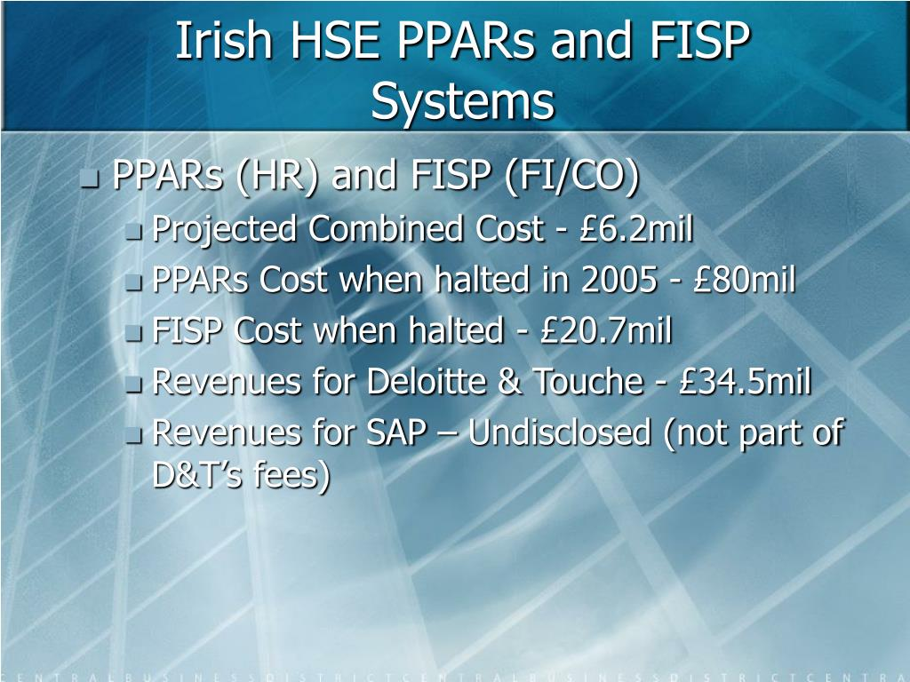 Irish HSE PPARs and FISP Systems
