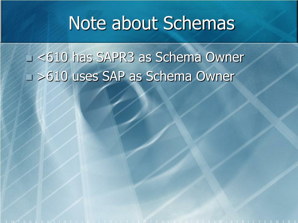 Note about Schemas