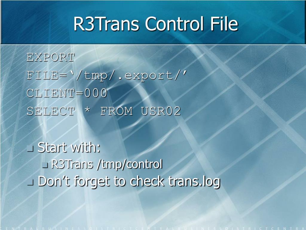 R3Trans Control File