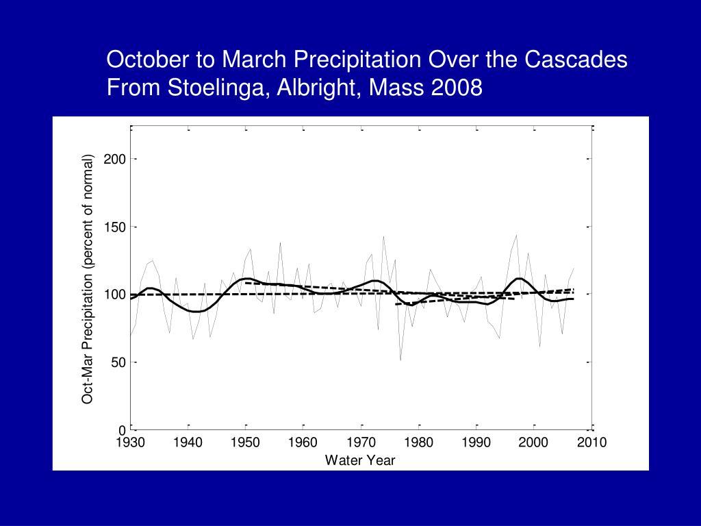 October to March Precipitation Over the Cascades