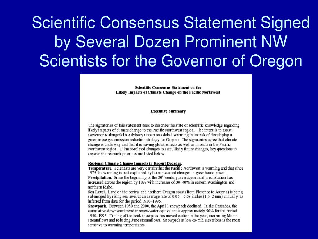 Scientific Consensus Statement Signed by Several Dozen Prominent NW Scientists for the Governor of Oregon