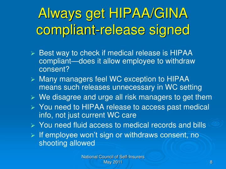 Always get HIPAA/GINA