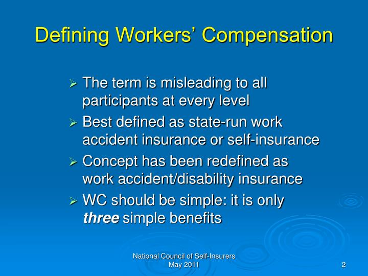 Defining workers compensation