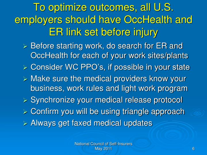 To optimize outcomes, all U.S. employers should have OccHealth and ER link set before injury