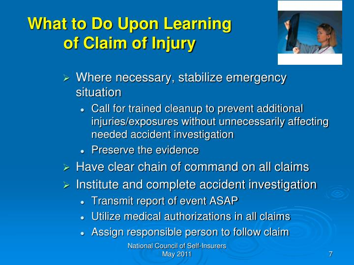 What to Do Upon Learning of Claim of Injury