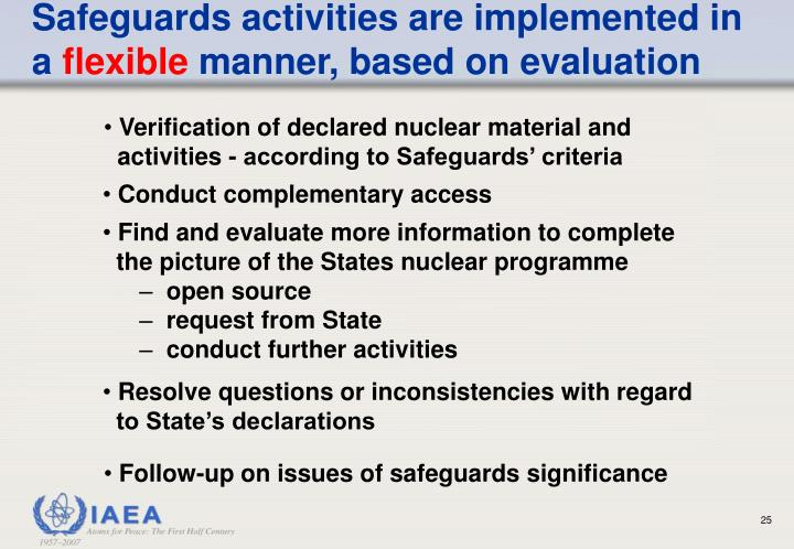 Safeguards activities are implemented in a