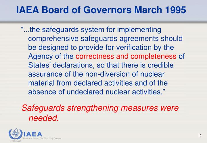 IAEA Board of Governors March 1995