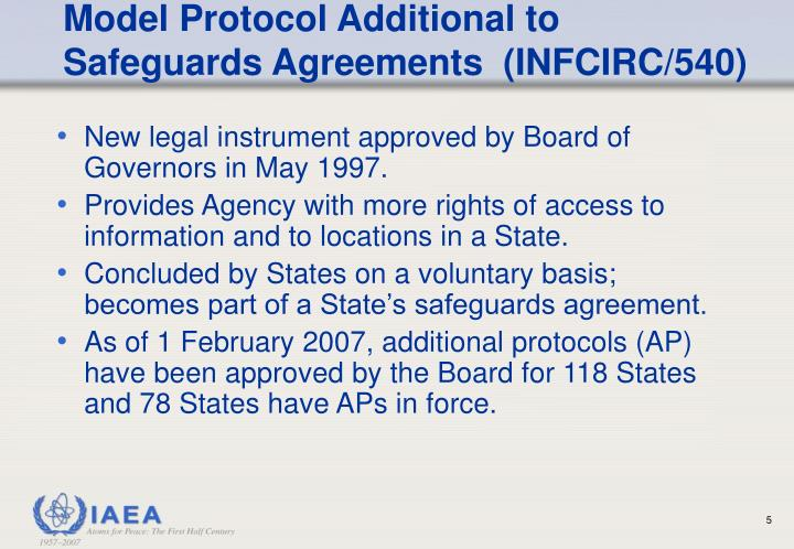 Model Protocol Additional to Safeguards Agreements  (INFCIRC/540)