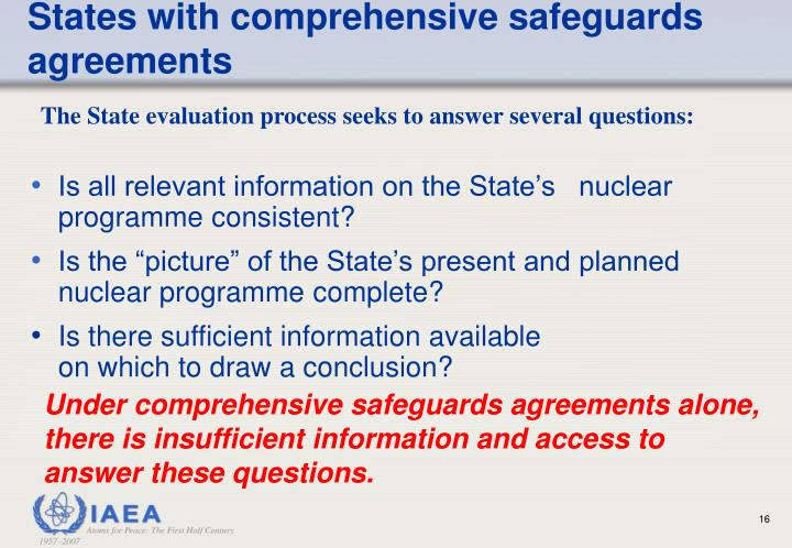 States with comprehensive safeguards agreements