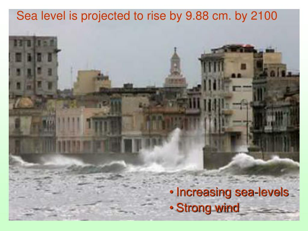 Sea level is projected to rise by 9.88 cm. by 2100
