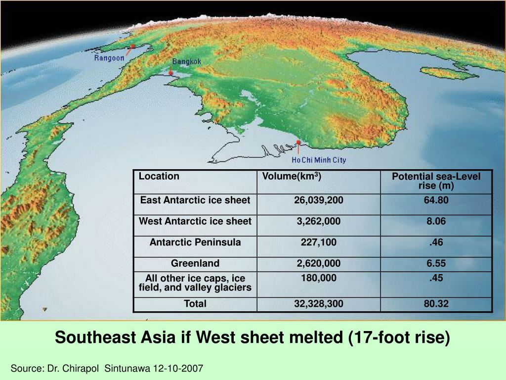 Southeast Asia if West sheet melted (17-foot rise)