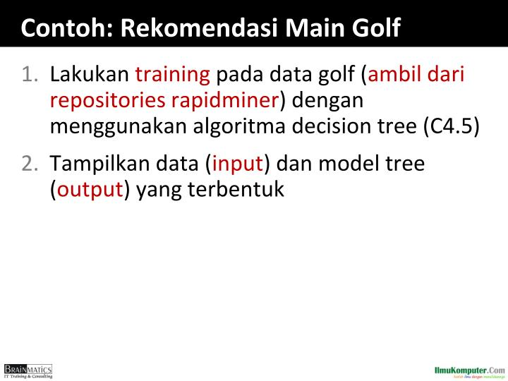 Contoh: Rekomendasi Main Golf