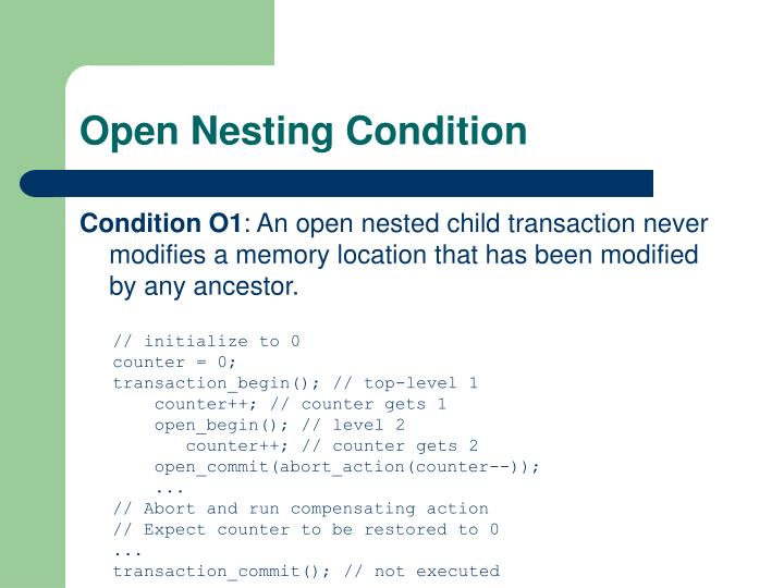 Open Nesting Condition