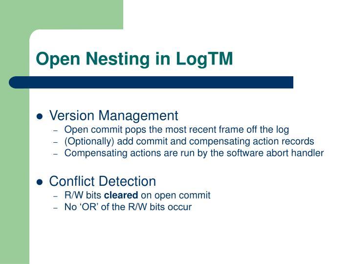Open Nesting in LogTM