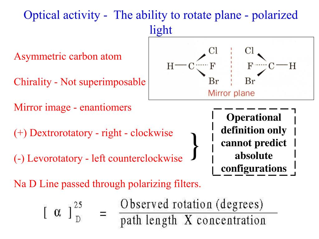 Optical activity -  The ability to rotate plane - polarized light