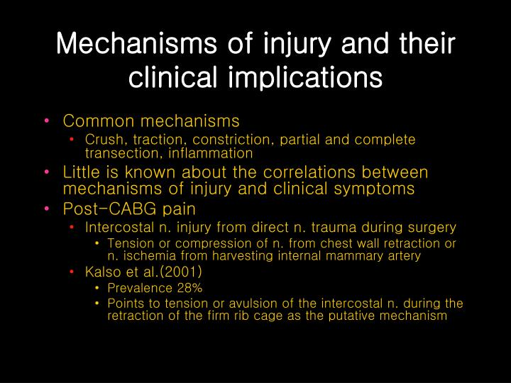 Mechanisms of injury and their clinical implications