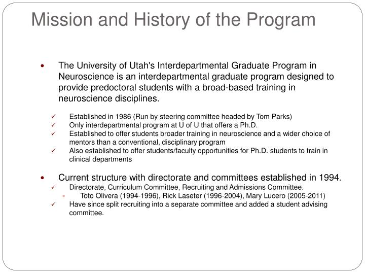 Mission and History of the Program