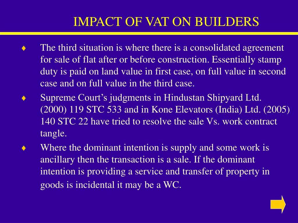 IMPACT OF VAT ON BUILDERS
