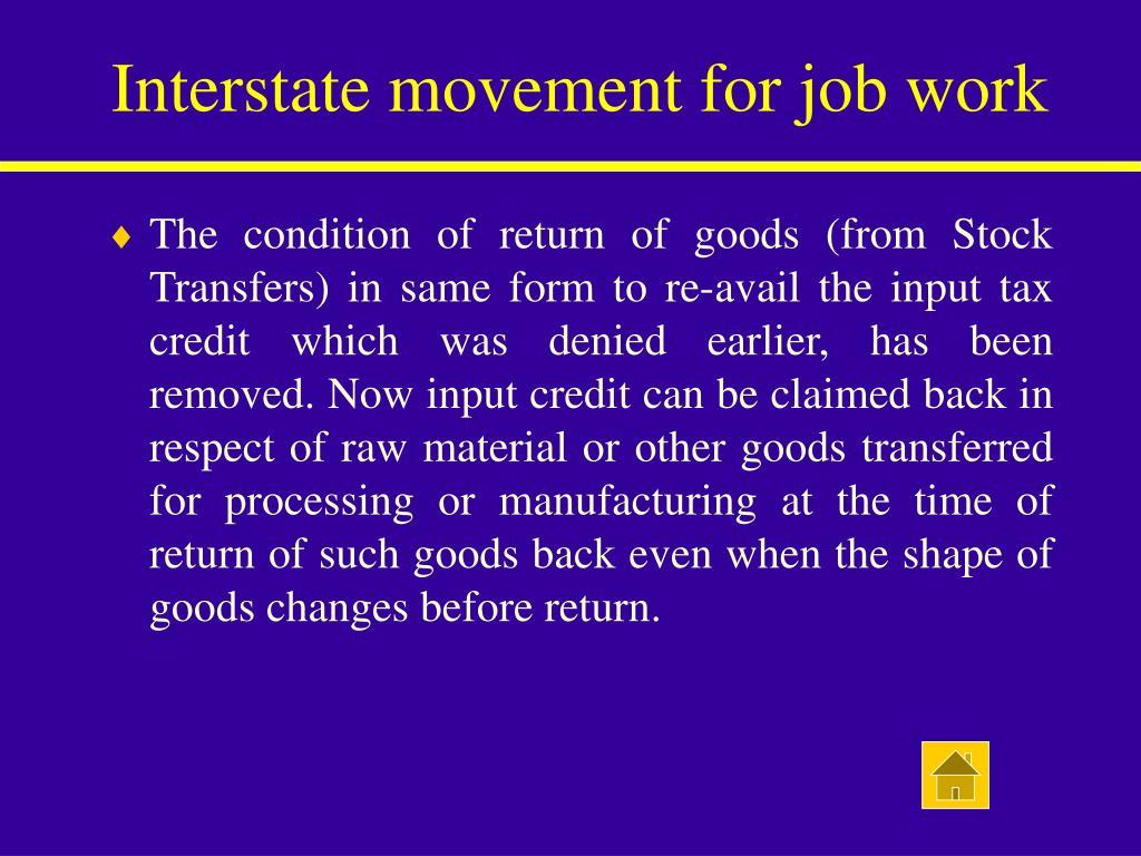 Interstate movement for job work
