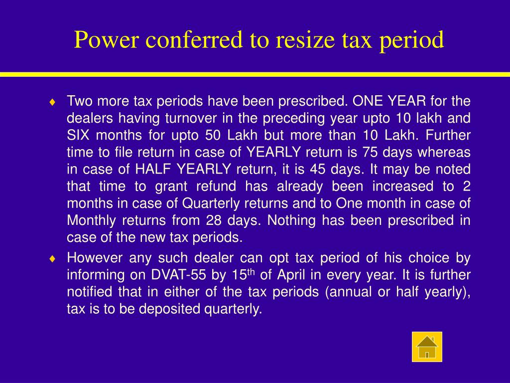 Power conferred to resize tax period