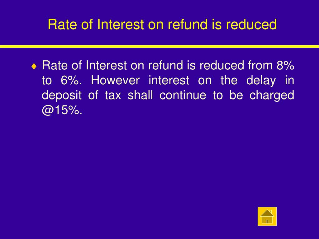 Rate of Interest on refund is reduced