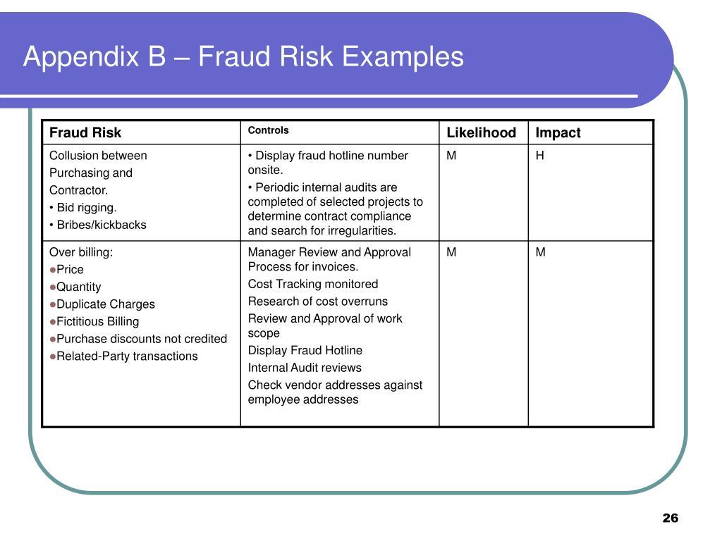 Appendix B – Fraud Risk Examples