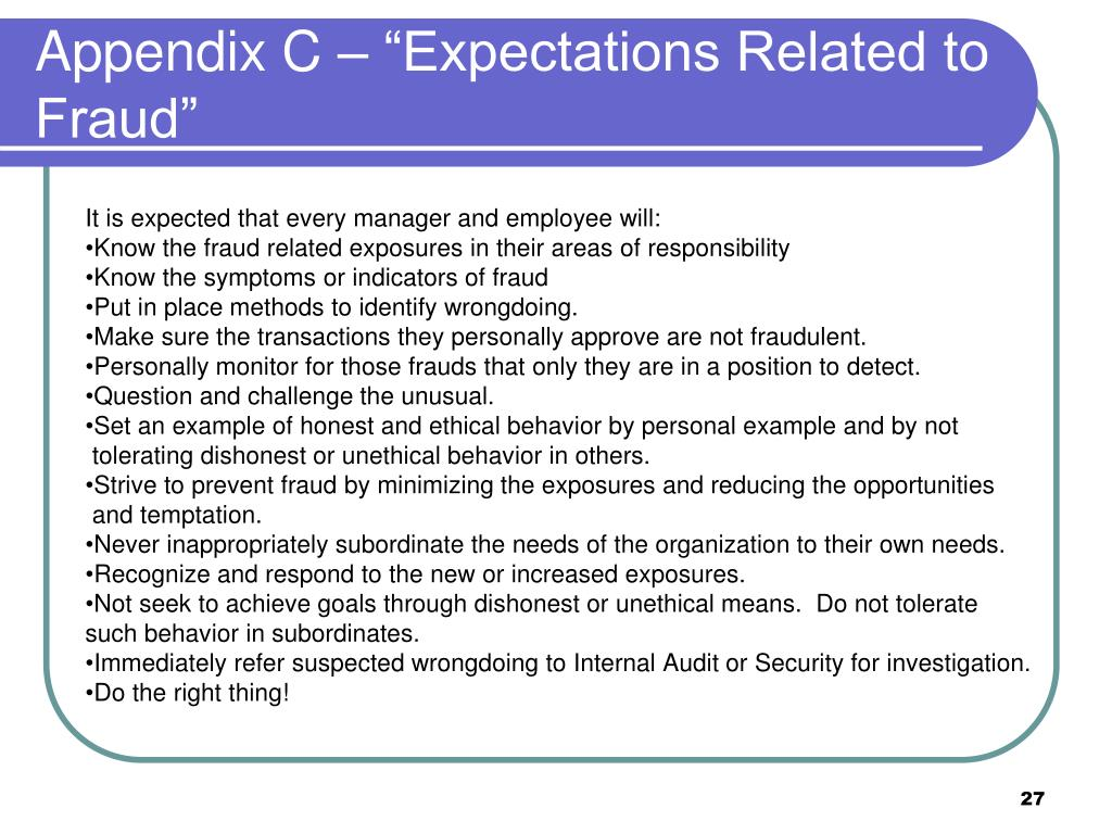 """Appendix C – """"Expectations Related to Fraud"""""""