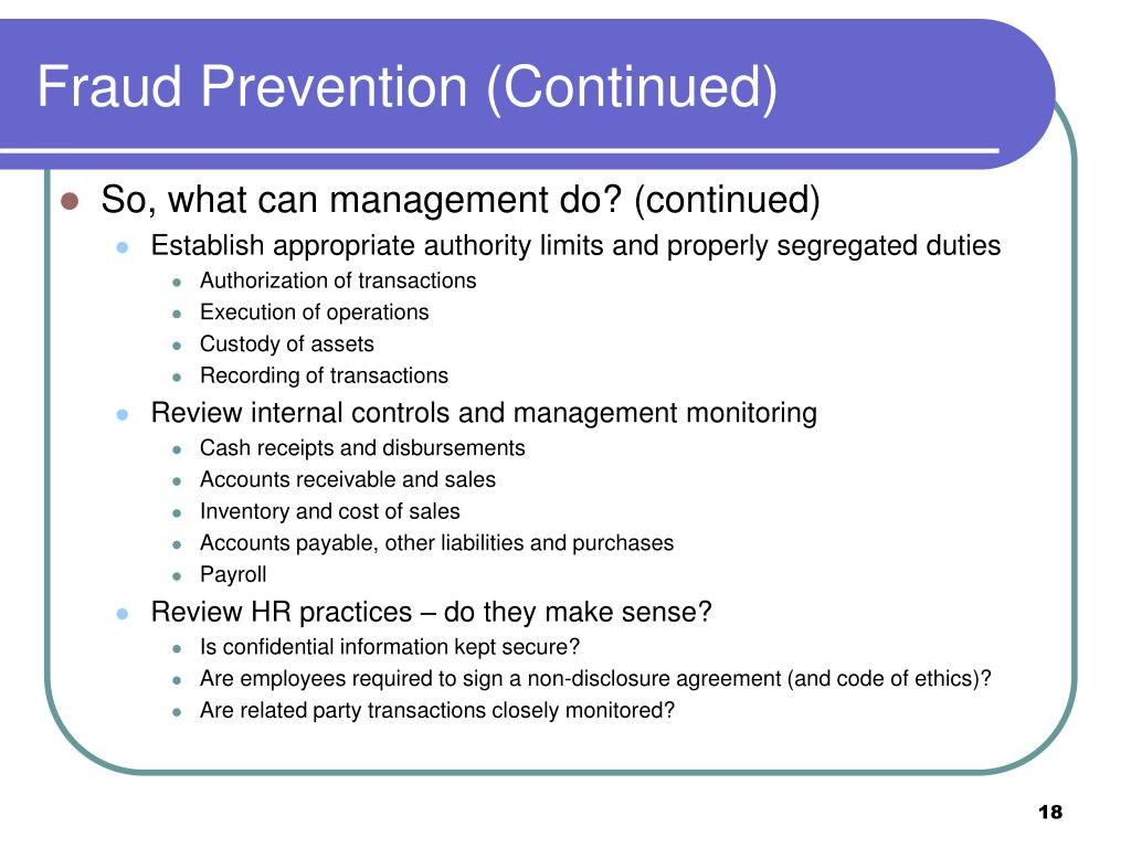 Fraud Prevention (Continued)