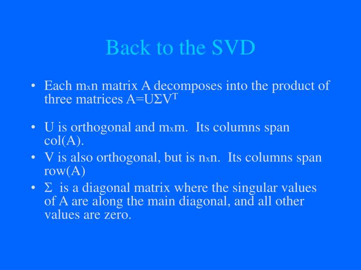 Back to the SVD