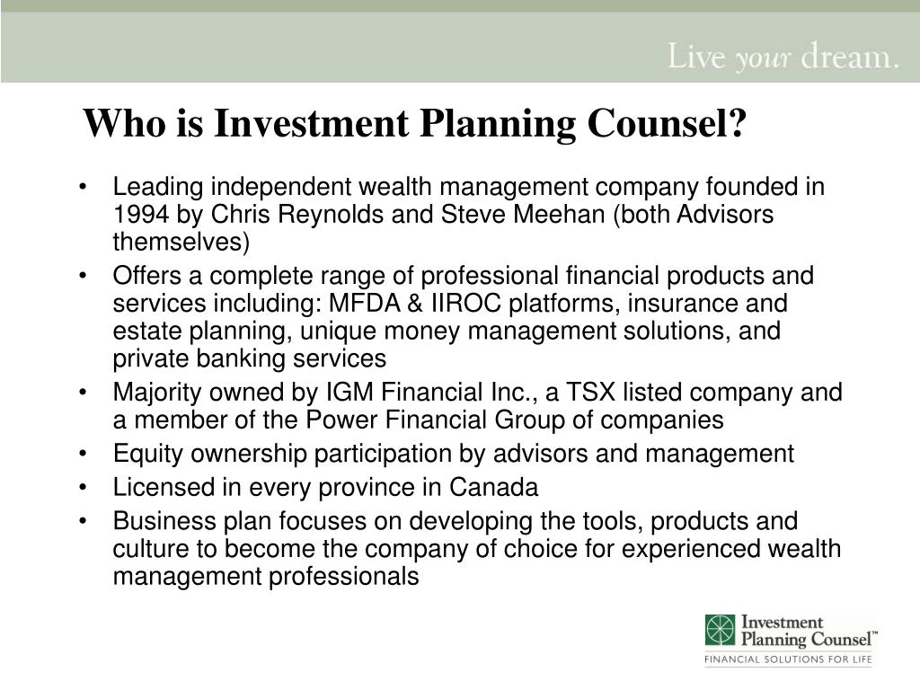 Who is Investment Planning Counsel?