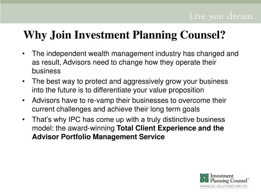 Why Join Investment Planning Counsel?