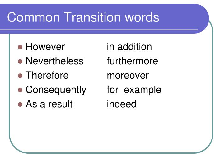 Common Transition words