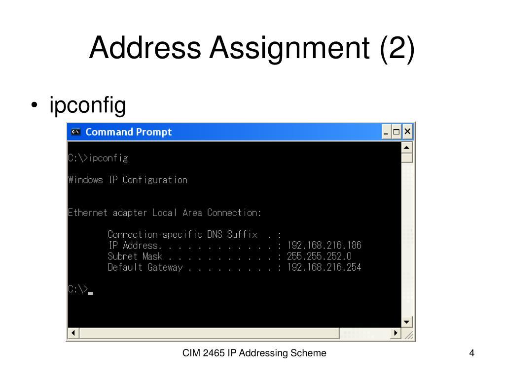 Address Assignment (2)