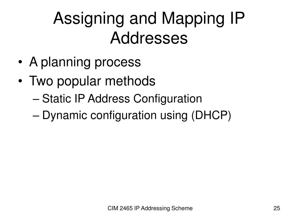 Assigning and Mapping IP Addresses