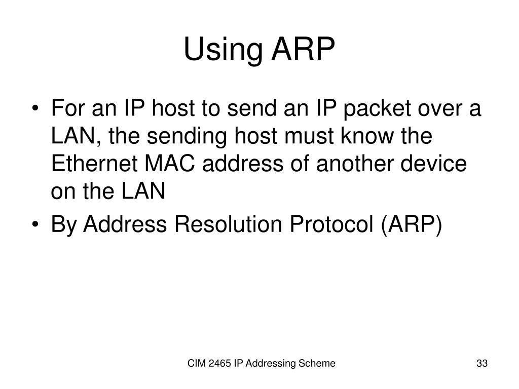 Using ARP