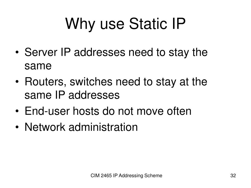 Why use Static IP