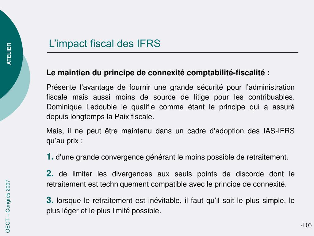 L'impact fiscal des IFRS
