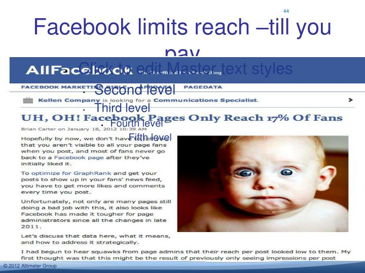 Facebook limits reach –till you pay